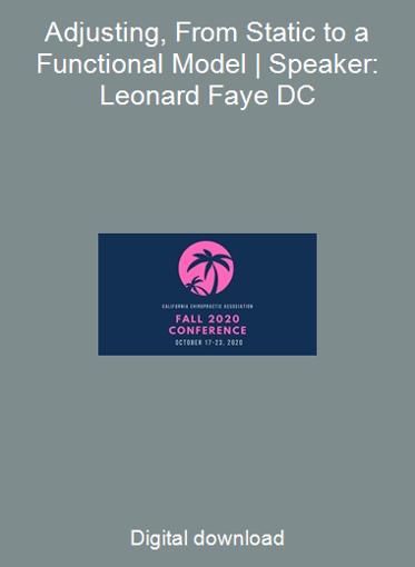 Adjusting, From Static to a Functional Model   Speaker: Leonard Faye DC